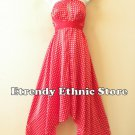 1D88 - Versatile Red Polka Dot  Silk Wear Scarf Long Maxi Halter Dress Maternity