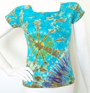 Blue Hippie Gypsy Short Sleeve Stretchable Tie dye Blouse Top - XS & S
