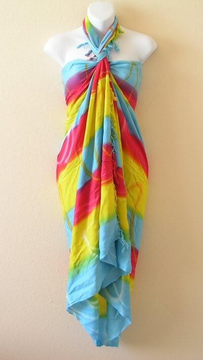 Tie Dye Stripes Beachwear Wrap Around Sarong Pareo Dress or Coverup Skirt