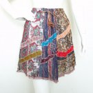 Hippie Peasant Print Patchwork Skirt with Mirror - S & M