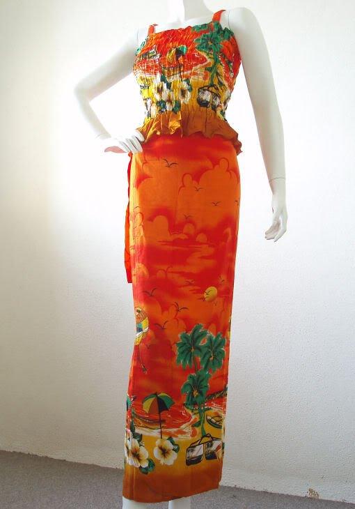 Batik Bohemian Broomstick Sexy Top & Wrap Pareo Skirt Suit Set Dress - XS & S
