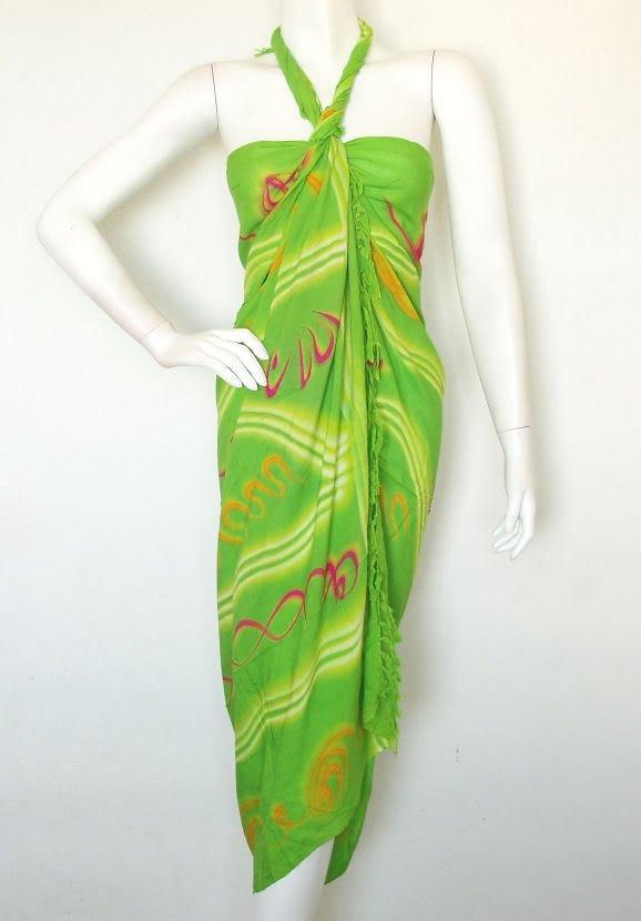 Stripes Batik Green Beachwear Wrap Around Sarong Pareo Dress Coverup Skirt