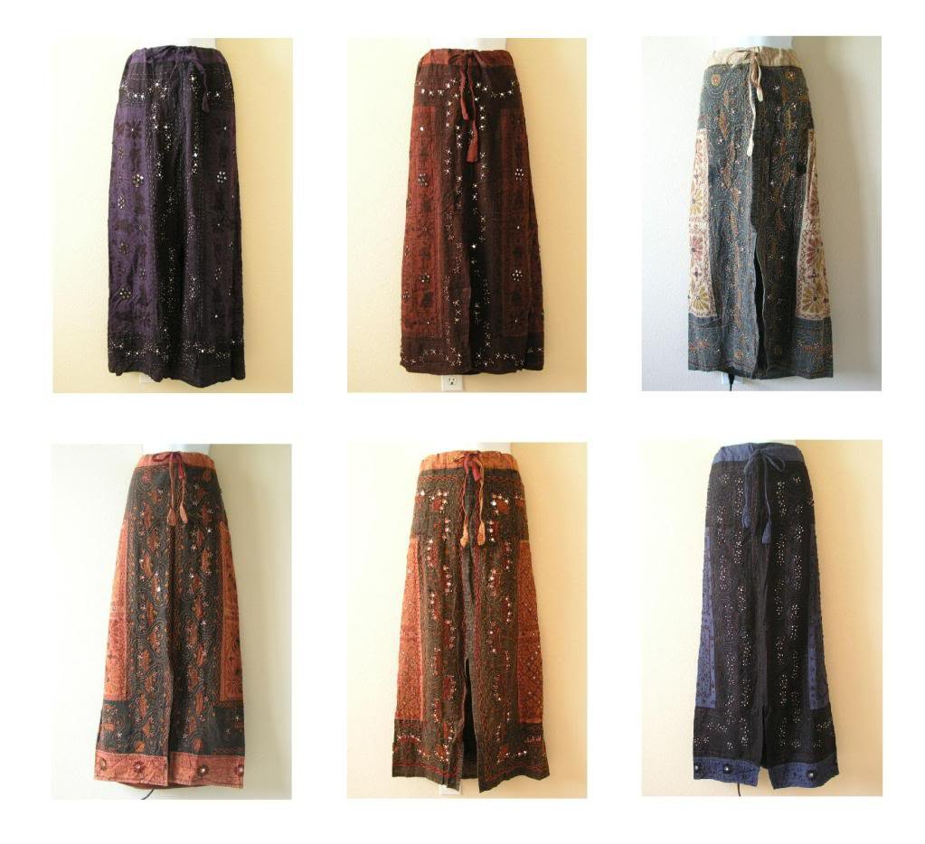 Gothic Hippie Gypsy Bohemian Renaissance Heavily Embroidered Long Skirt - M & L