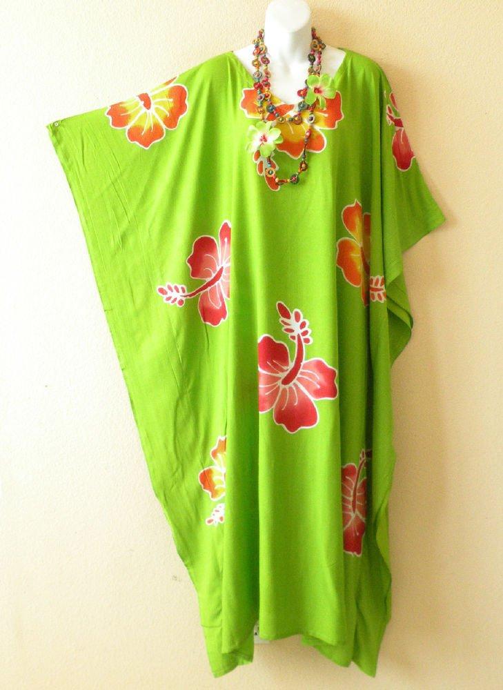 Green Premium Batik Kaftan Caftan Batwing Maternity Dolman Maxi Dress - 2X to 5X