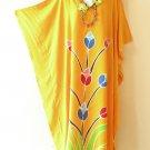 Orange Summer Batik Kaftan Abaya Batwing Maternity Poncho Maxi Dress - 2X to 5X