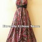 1D107 - Versatile Paisley Silk Multi Wear Scarf Long Maxi Halter Dress Maternity
