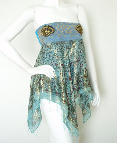 L112 Blue Hippie Gypsy Embroidered Lurex Shimmering Blouse Top / Skirt - S & M