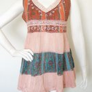 Boho Hippie Gypsy Bohemian Embroidered Patchwork Maternity Tiered Top - XS & S