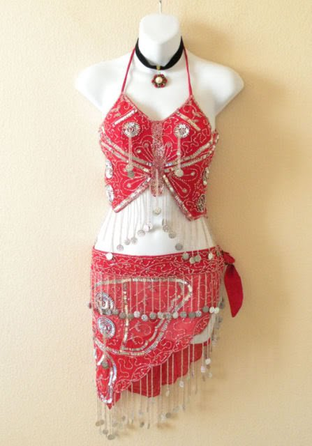 Clubbing Belly dance Red Silver Halter Top & Wrap Skirt Hip Scarf Set - S & M