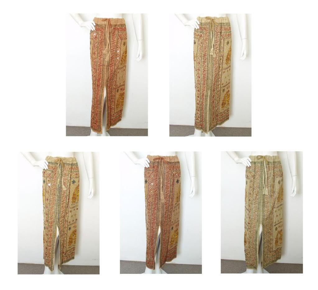 10pcs Sale Wholesale Bohemian Renaissance Heavily Embroidered Long Skirt - M & L