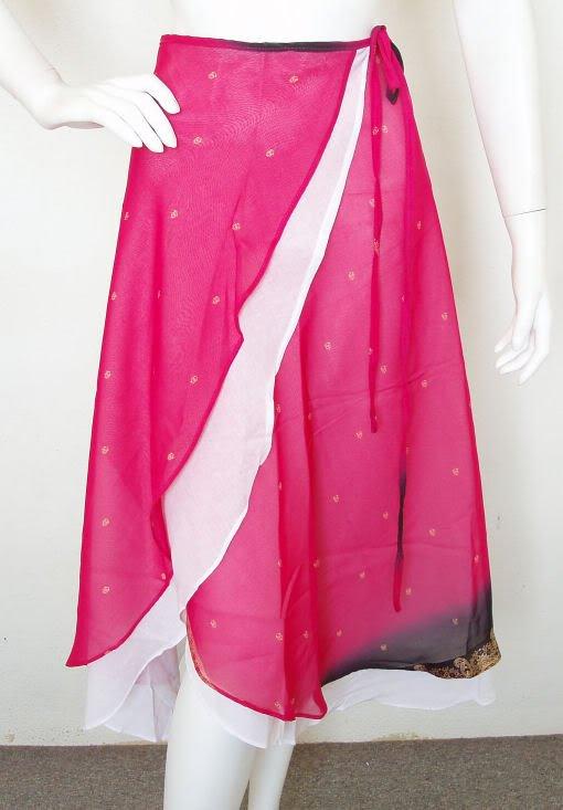 Ethnic Pink Peasant Boho Hippie Printed 2 Layered Wrap Around Skirt - XS, S & M