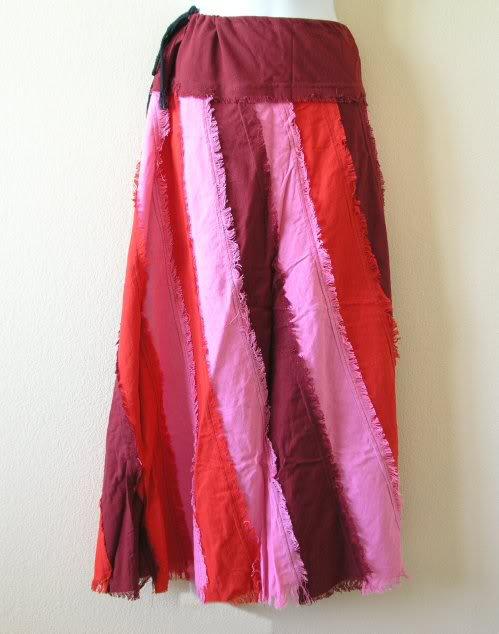 Peasant Hippie Gyspy Ethnic Boho Multi Print Patchwork Skirt - M & L