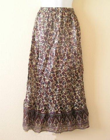 Bohemian Peasant Hippie Gyspy Ethnic Printed Maxi Long Skirt - S & M