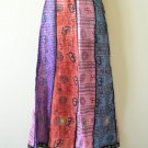 Bohemian Peasant Print Embroidered Patchwork Skirt w/Mirrors - S & M