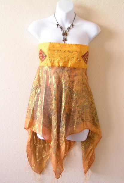 Orange Boho Hippie Gypsy Embroidered Lurex Shimmering Blouse Top / Skirt - S & M
