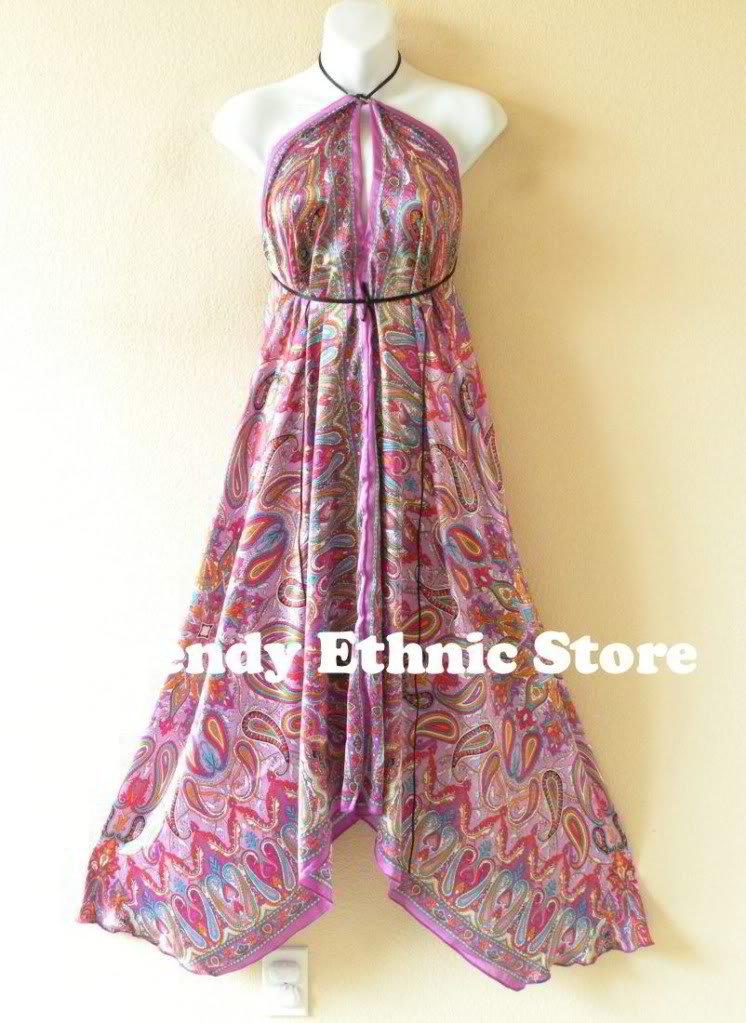 2D69 - Purple Paisley Silk Multi Wear Scarf Long Maxi Dress, Skirt, Maternity