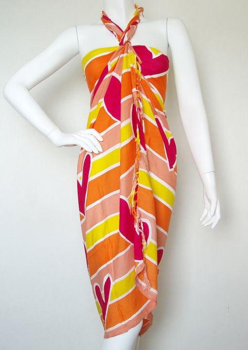 Hearts Batik Multicolor Beachwear Wrap Around Sarong Pareo Dress Coverup Skirt