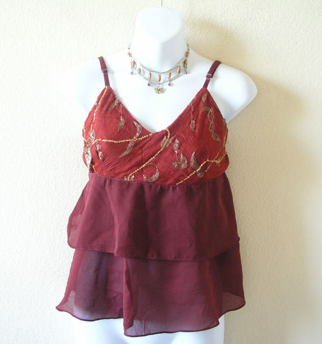 Maroon Boho Hippie Gypsy Bohemian Embroidered Layered Ruffle Blouse Top - XS