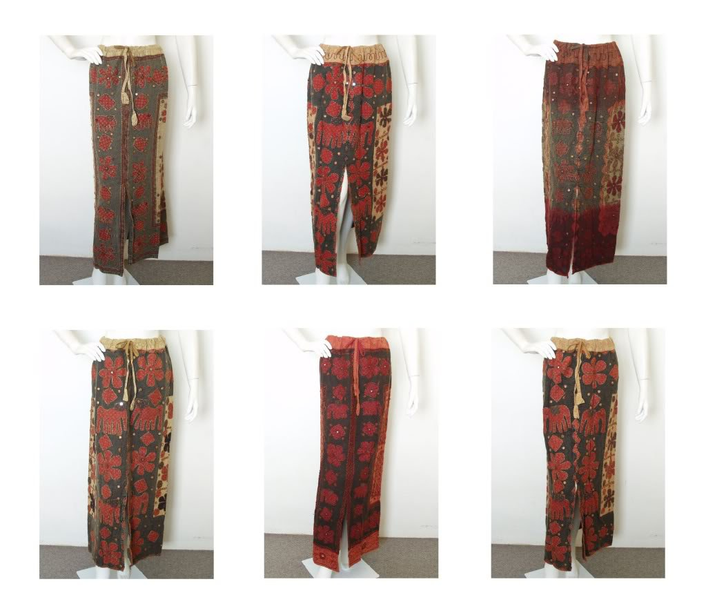 Gothic Hippie Gypsy Renaissance Heavily Embroidered Patchwork Long Skirt - M & L