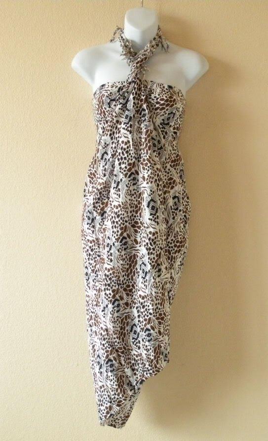 Animal Printed Beachwear Wrap Around Sarong Pareo Dress or Coverup Skirt