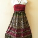 TS14 Vintage Embroidered Halter Tube Smocked Broomstick Dress / Skirt - XS to XL