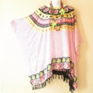 White & Pink Paisley Plus Size Caftan Kaftan Tunic Blouse Top -XL, 1X, 2X & 3X