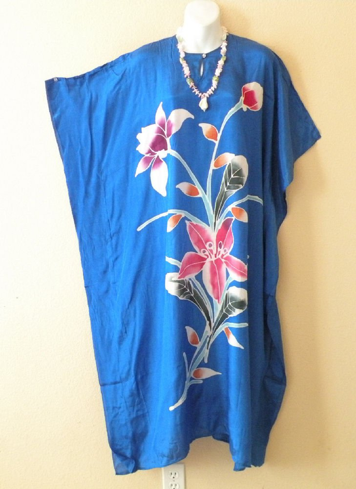 Blue Handpainted Floral Plus Size Caftan Dolman Tunic Maxi Dress-1X, 2X, 3X & 4X
