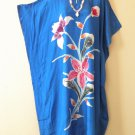 Blue Handpainted Floral Plus Size Caftan Dolman Tunic Maxi Dress-1X, 2X, 3X & 4X