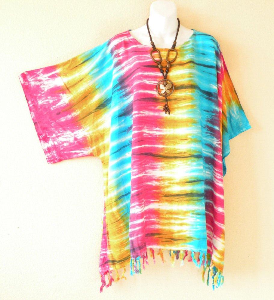 Tie Dye Plus Size Caftan Kimono Tunic Maternity Poncho Blouse - 1X, 2X, 3X & 4X