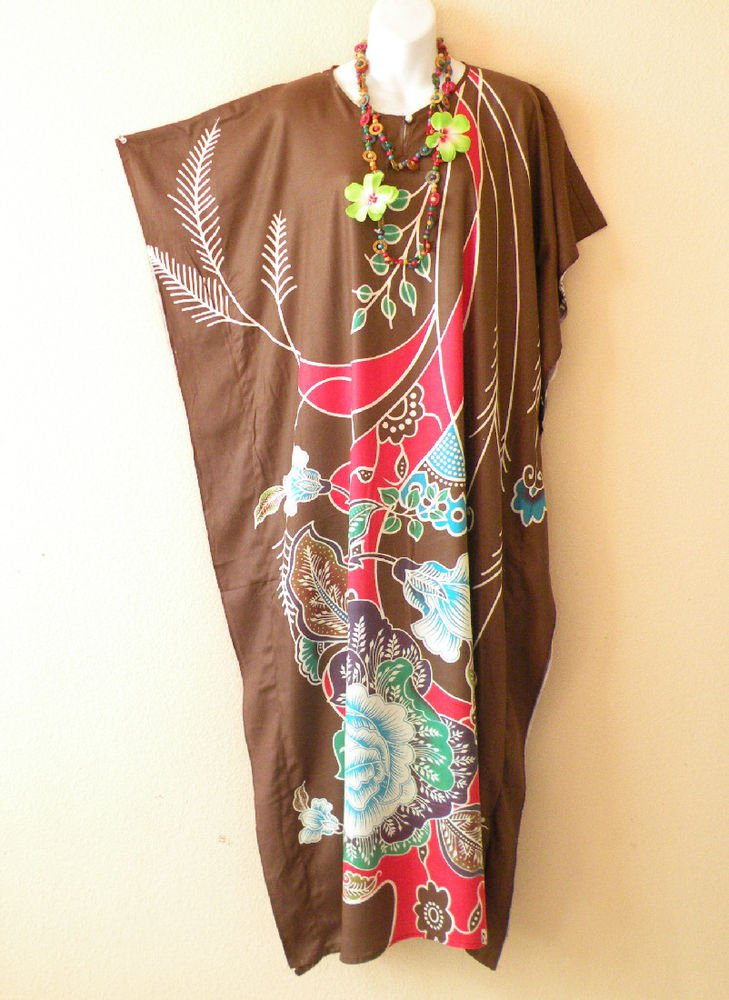 Brown Floral Dolman Caftan Kaftan Tunic Hippy Abaya Maxi Dress - M, L, XL & 1X