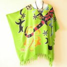 Green Batik Floral Plus Size Kaftan Beachwear Summer Poncho Top -2X, 3X, 4X & 5X