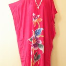 Pink Handpainted Floral Plus Size Caftan Kaftan Tunic Maxi Dress-1X, 2X, 3X & 4X