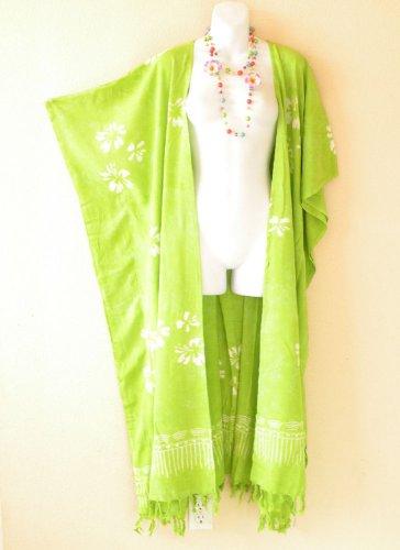CD227 Green Batik Plus Size Maxi Cardigan Kaftan Duster Jacket - 2X, 3X, 4X & 5X