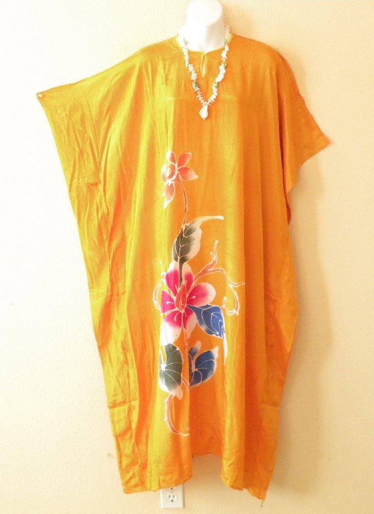 Orange Handpainted Floral Plus Size Caftan Kaftan Maxi Dress - 1X, 2X, 3X & 4X