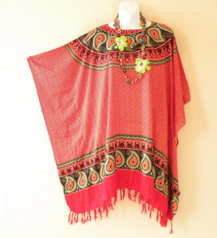 NWT Paisley Red Batik Plus Size Caftan Kaftan Tunic Blouse Top - XL, 1X, 2X & 3X