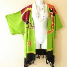Green Gecko Plus Size Cardigan Duster Jacket Kimono Cover up - 2X, 3X, 4X & 5X