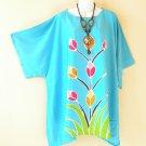 KB630 Kimono Plus Size Floral Caftan Kaftan Tunic Blouse Top - 2X, 3X, 4X & 5X