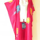 CD25 Floral Pink Plus Size Long Cardigan Kaftan Duster Jacket - 2X, 3X, 4X & 5X
