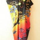 Yellow Batik Floral Dolman Caftan Kaftan Hippy Abaya Tunic Dress -M, L, XL & 1X