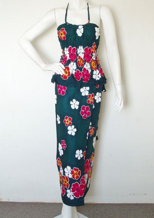 Batik Top Wrap Pareo Sarong Skirt / Dress Set - XS & S