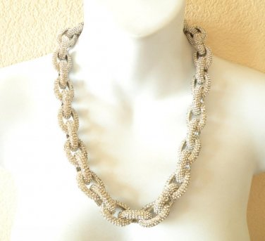 Chunky Pave Classic Link Chain Silver Necklace J Style with 4,500+ Crystals