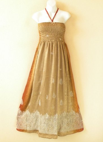 TL95 Brown Embroidered Beaded Halter Tube Smock Maxi Broomstick Dress - XS to XL