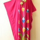 Pink Summer Batik Kaftan Abaya Batwing Maternity Poncho Maxi Dress - 2X to 5X