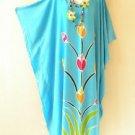 Aqua Summer Batik Kaftan Abaya Batwing Maternity Poncho Maxi Dress - 2X to 5X