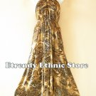 2D114 - Bronze Versatile Silk Multi Scarf Women Maxi Long Dress, Skirt Maternity