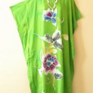 KD26 Green Hand Painted Batik Women Kaftan Caftan Tunic Dolman Dress 1X to 4X