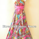 1D119 - Versatile Pink Floral Silk Multi Scarf Women Maxi Halter Dress Maternity