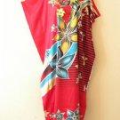K109 Red Batik Women Kaftan Caftan Hippy Tunic Abaya Boho Gown Maxi Dress XS - M