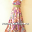 1D114Violet Versatile Paisley Silk Multi Scarf Women Maxi Halter Dress Maternity