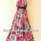 1D113 Pink Versatile Long Silk Multi Scarf Women Maxi Halter Dress Maternity
